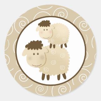 Neutral Baa Baa Sheep Envelope Seals / Toppers 20 Round Sticker