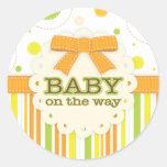 Neutral Baby Orange & Green in Stitches Baby Bow Round Sticker