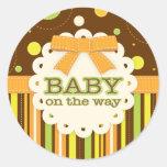 Neutral Baby Orange & Green in Stitches Baby Bow Round Stickers