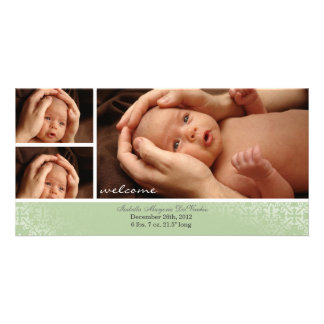 Neutral Baby Photocard Announcement Personalised Photo Card