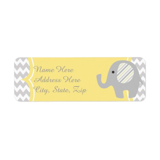 Neutral Baby Shower Custom Elephant Address Labels
