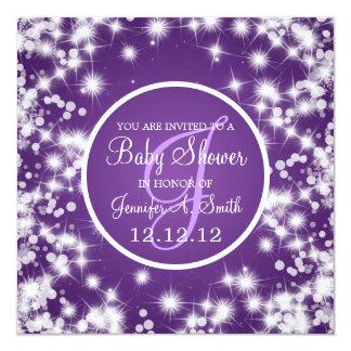Neutral Baby Shower Elegant Winter Sparkle Purple Card