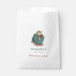 Neutral baby shower favor bags with dragon