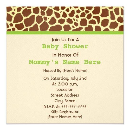 Neutral Baby Shower: Giraffe Print Stuffed Bear Card