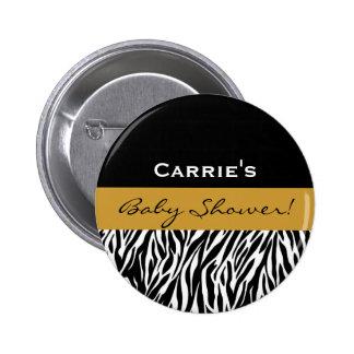 Neutral Baby Shower Modern Black White Zebra Gold 6 Cm Round Badge