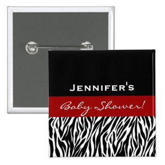 Neutral Baby Shower Modern Black White Zebra Red 15 Cm Square Badge