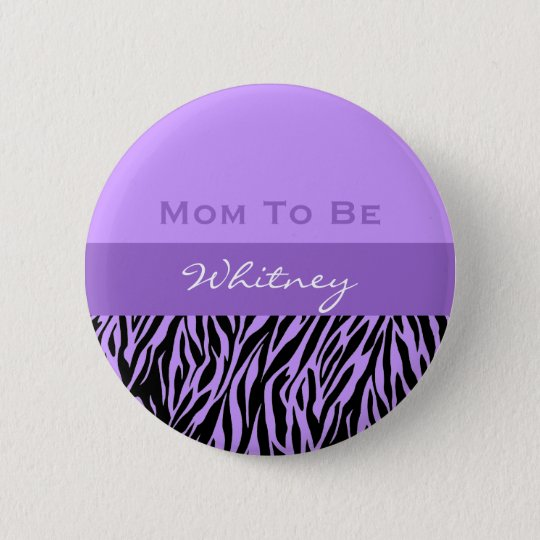 Neutral Baby Shower Modern Purple Zebra Print 6 Cm Round Badge