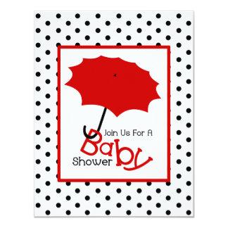 Neutral Baby Shower - Red Umbrella & Polka Dots Card