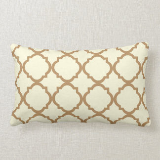 Neutral Beige and Brown Geometric Throw Pillow