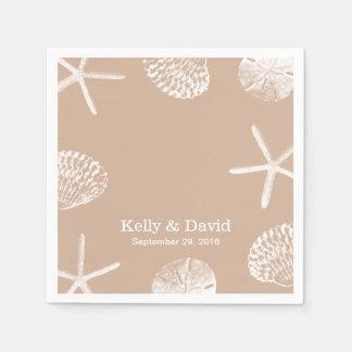 Neutral Beige Beach Theme Seashells Wedding Paper Serviettes