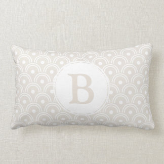 Neutral Beige Japanese Scallops & Initial Letter Lumbar Cushion