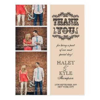 Neutral Beige Photo Wedding Thank You Post Card