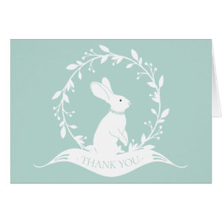 Neutral Bunny  Baby Shower Thank You Note Card