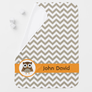 Neutral color Owl baby blanket, baby boy blanket Buggy Blanket