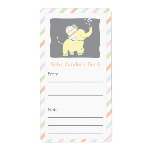 Neutral Elephant Bookplate Shipping Label