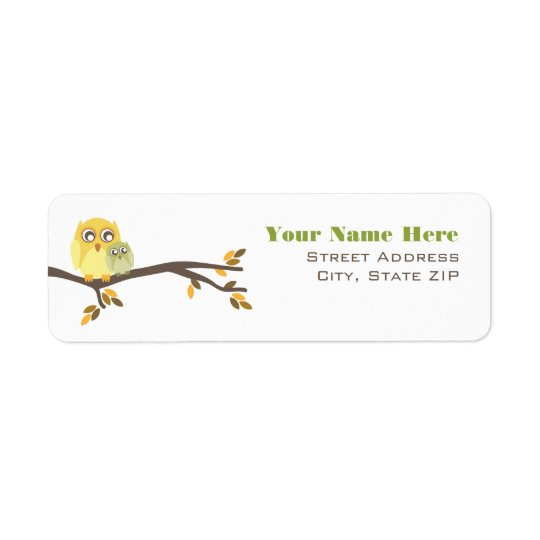 Neutral Fall Baby Shower Label Mum & Baby Owl