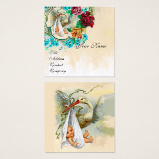 NEUTRAL FLORAL STORK BABY SHOWER White Pearl Paper Square Business Card