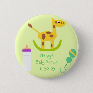 Neutral Giraffe Toy Button Baby Shower Favors