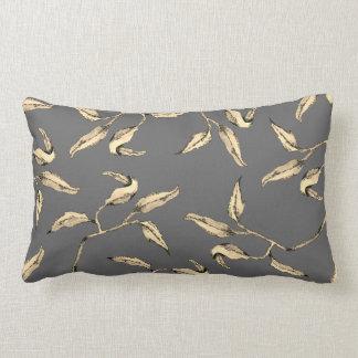 Neutral Gray & Sepia Watercolor Foliage Lumbar Cushion