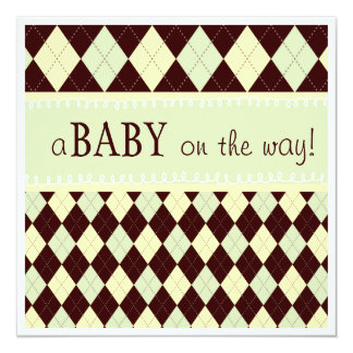 Neutral Green Argyle Baby on the Way Baby Shower 13 Cm X 13 Cm Square Invitation Card