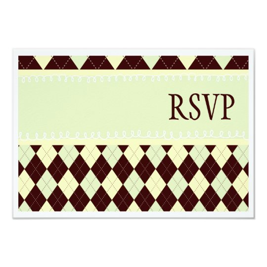 Neutral Green Argyle Baby on the Way RSVP Cards