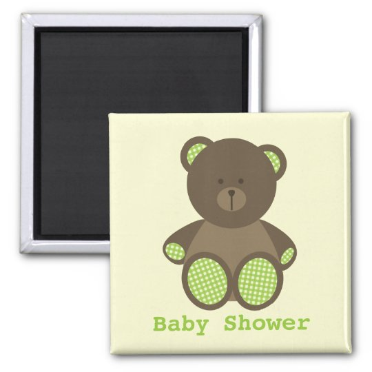 Neutral Green Baby Shower Favour Gingham Bear Magnet