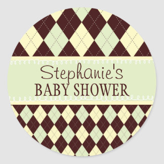 Neutral Green Yellow Argyle Baby Shower Sticker