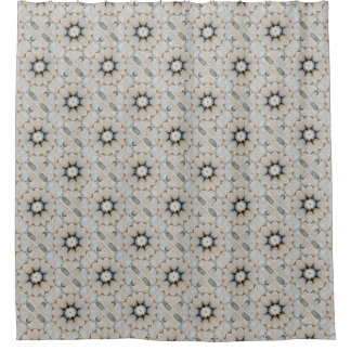 Neutral Grey and Taupe Stone Flower Mandala Design Shower Curtain
