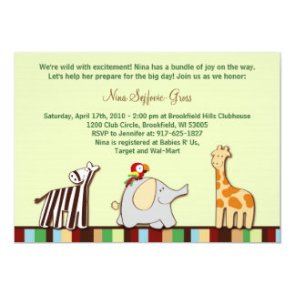 Neutral Jungle Animals Baby Shower Invitations