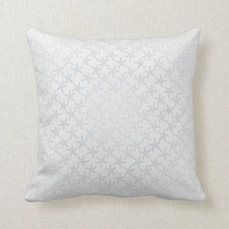 Neutral Light Gray Starfish Pattern Pillow