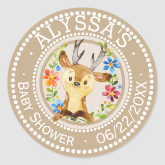 Neutral Little Deer Baby Shower | Personalised Classic Round Sticker