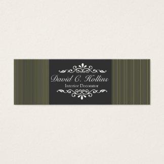 Neutral Ornate Classy Motif on Stripes Mini Business Card