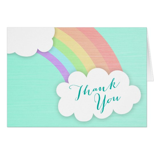 Neutral Rainbow Baby Shower Thank You Note Cards