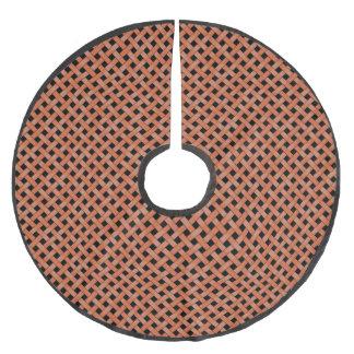 Neutral Rustic Wicker Orange on Custom Brown Brushed Polyester Tree Skirt