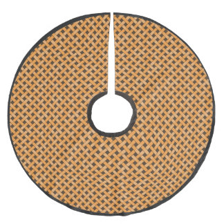 Neutral Rustic Wicker Yellow on Custom Brown Brushed Polyester Tree Skirt