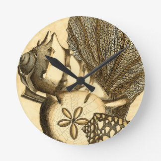 Neutral Shells and Coral Collection Round Clock