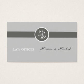 Neutral Simple Color Plain Justice-Scales Attorney Business Card