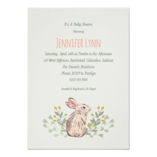 Neutral Spring Woodland Bunny Baby Shower Invite