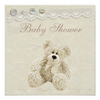 Neutral Teddy Bear Vintage Lace Baby Shower 13 Cm X 13 Cm Square Invitation Card