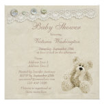Neutral Teddy Bear Vintage Lace Baby Shower Invitations