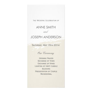 Neutral watercolor wedding program rack card template