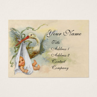 NEUTRAL WHITE STORK BABY SHOWER Pearl paper Business Card