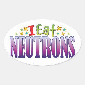 Neutrons I Eat Oval Sticker