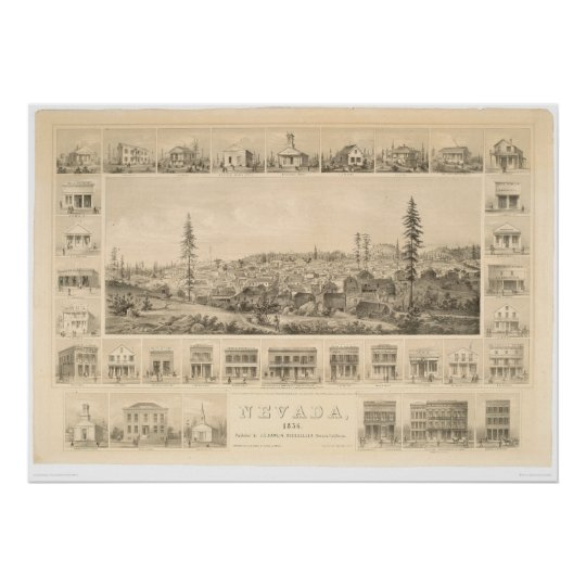 Nevada City, CA. Panoramic Map 1856 (1184A) Poster