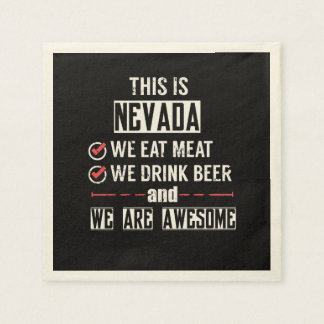 Nevada Eat Meat Drink Beer Awesome Disposable Napkin