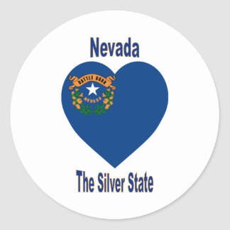 Nevada Flag Heart Classic Round Sticker