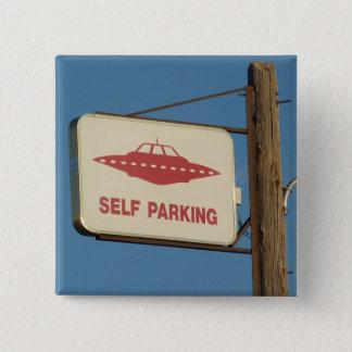 Nevada humor: Self Parking UFO Magnet 15 Cm Square Badge