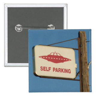 Nevada humor: Self Parking UFO Magnet 15 Cm Square Badge