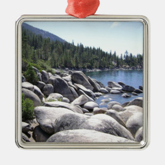 Nevada - Lake Tahoe Landscape Silver-Colored Square Decoration