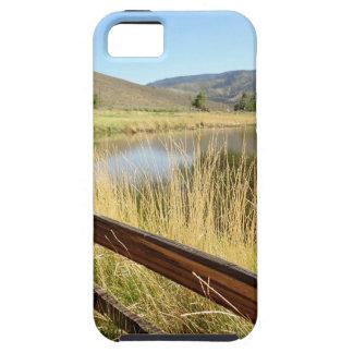 Nevada landscape with wood fence, lake, sky. iPhone 5 case